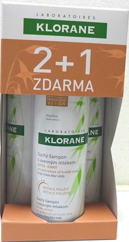KLORANE TRIO OVES HNĚDÝ suchý šampon oves zabarvený 2 plus 1 ZDARMA