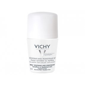 Vichy Deodorant-Antiperspirant 48h roll-on pro citlivou nebo depilovanou pokožku (Soothing Anti-Perspirant) 50 ml