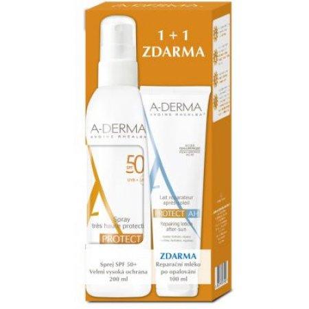 A-DERMA Protect Sprej SPF 50+ 200 ml + Reparační mléko 100 ml