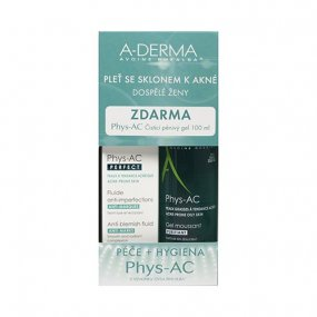 A-DERMA Phys-AC Perfect fluid 40ml +čistící pěnivý gel 100ml ZDARMA